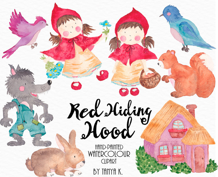 Watercolor Red Hiding Hood Clipart