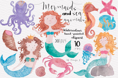 Watercolor Mermaids And Sea Animals Clipart