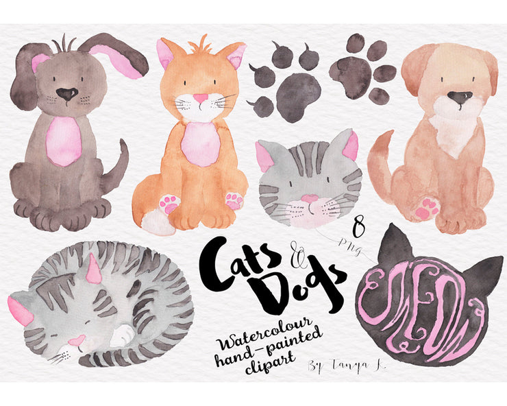 Cats And Dogs Watercolor Hand Painted Clipart