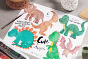 Cute Dinosaurs Watercolor Hand-Painted Clipart