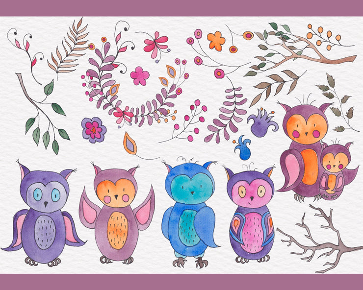 Owl Watercolor Clipart