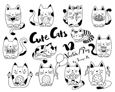 Black and White Cute Cats Clipart