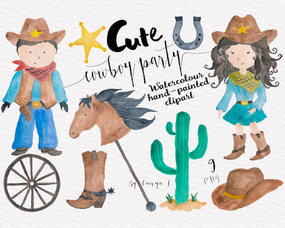 Cowboy Party Watercolor Clipart