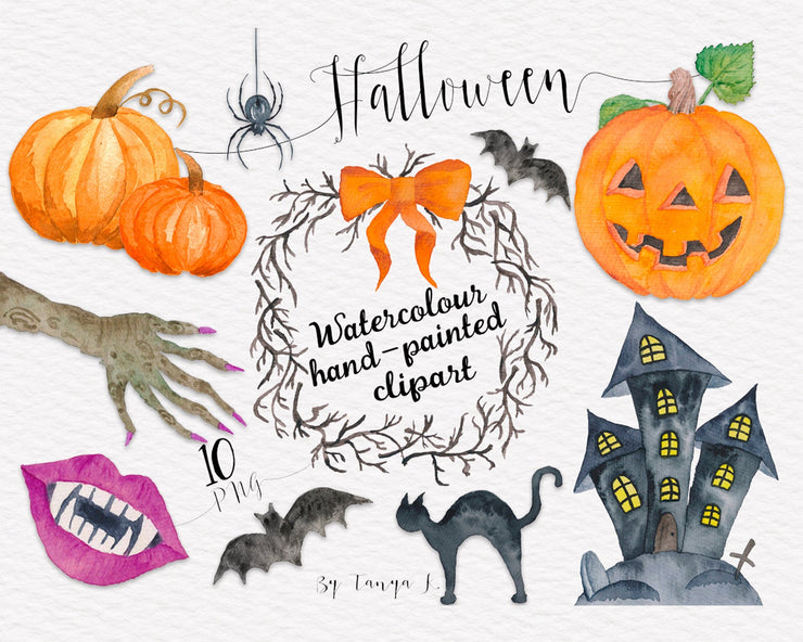 Halloween Watercolor Clip Art
