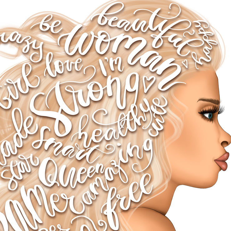 Blond Girl | Woman Png For Printing | Motivated Words