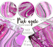 Pink Agate Digital Papers
