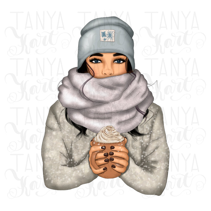 Winter Girl With Coffee | Png Sublimation