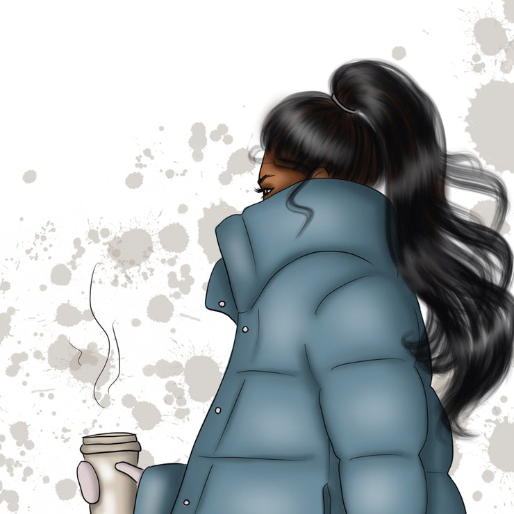 Hand-Drawn Afro Girl With Coffee Png