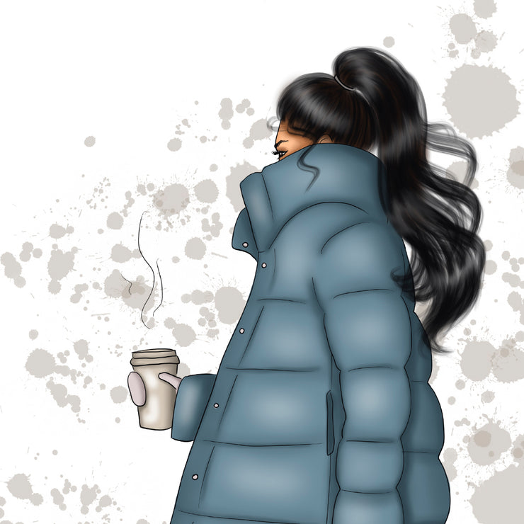Hand-Drawn Girl With Coffee Png