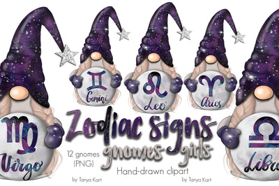 Zodiac Signs Gnomes Girls
