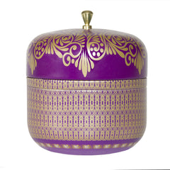 AYURVEDIC: TRAVEL TIN CANDLE IN VINTAGE COLLECTIBLE TIN : <BR> AMETHYST