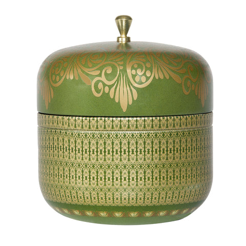AYURVEDIC: TRAVEL TIN CANDLE IN VINTAGE COLLECTIBLE TIN : <BR> EMERALD