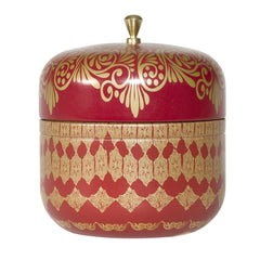 AYURVEDIC: TRAVEL TIN CANDLE IN VINTAGE COLLECIBLE TIN : <BR> RUBY