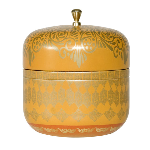 AYURVEDIC: TRAVEL TIN CANDLE IN VINTAGE COLLECTIBLE TIN : <br> TOPAZ