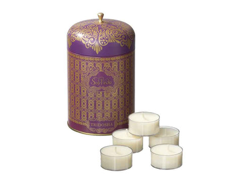 AYURVEDIC: TEA LIGHT CANDLES <br> IN VINTAGE COLLECTIBLE TIN :<br> AMETHYST