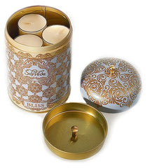 AYURVEDIC: TEA LIGHT CANDLES <br> IN VINTAGE COLLECTIBLE TIN <br> EMERALD