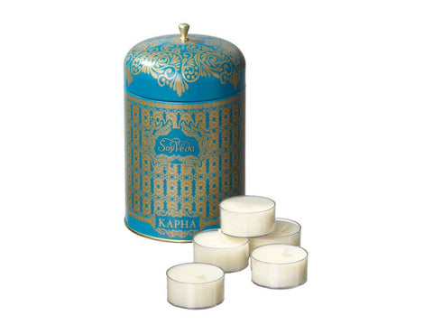 AYURVEDIC: TEA LIGHT CANDLES <br> IN VINTAGE COLLECTIBLE TIN : <br> SAPPHIRE