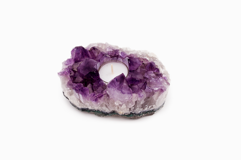 AMETHYST CRYSTAL TEA LIGHT HOLDER