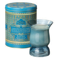 AYURVEDA : HURRICANE GLASS CANDLE & VINTAGE COLLECTIBLE TIN : <br> SAPPHIRE
