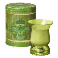 AYURVEDA : HURRICANE GLASS CANDLE  &  VINTAGE COLLECTIBLE TIN :    <br> EMERALD