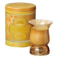 AYURVEDA : HURRICANE GLASS CANDLE & VINTAGE COLLECTIBLE TIN :<br> TOPAZ