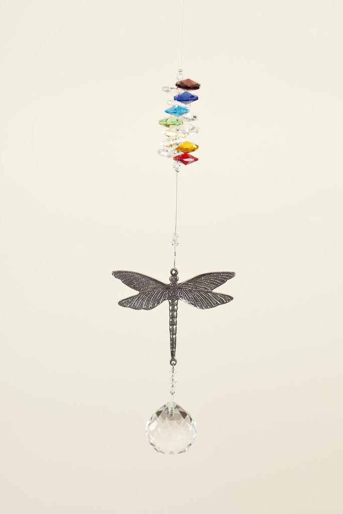 PEWTER DRAGON FLY  <br> Crystal Sun Catcher