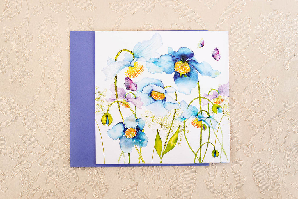 Gorgeous and Glittery Flowers in Blue Greeting Card
