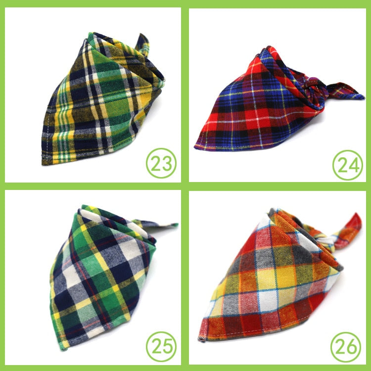 Dog Bandana Cotton Plaid Pet Scarf