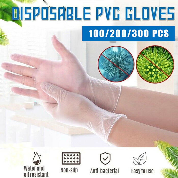 100PCS Disposable Transparent PVC Gloves