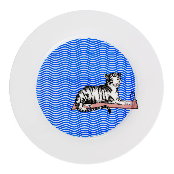 Tiger Swims Dinner Plate