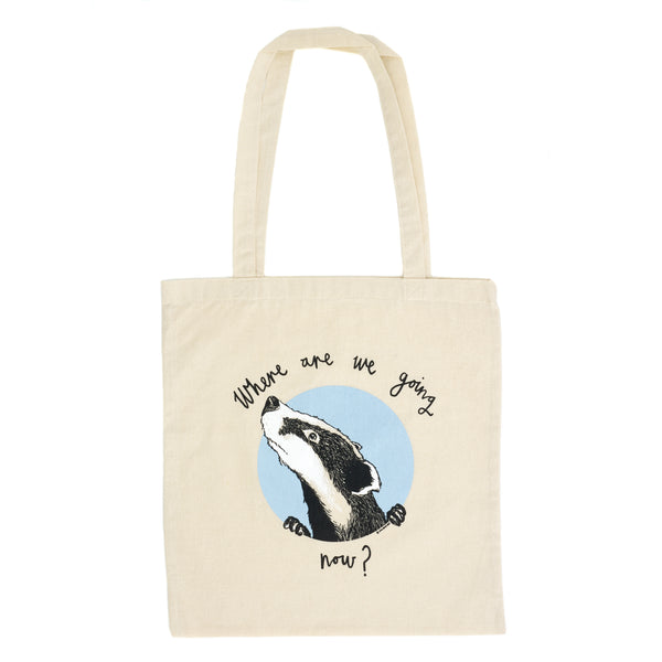 Where are we going now? Badger Tote Bag