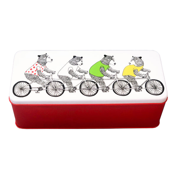 Bicycling Bears Deep Rectangle Biscuit Tin