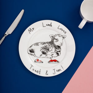 'Mr Lamb love toast and jam' Side Plate