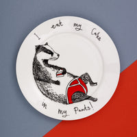 Badger side plate 'Eat my Cake in my Pants'