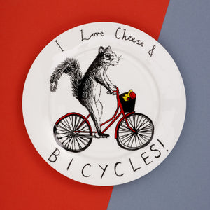 'I Love Cheese & Bicycles' Side Plate