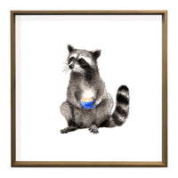 Coffee Raccoon Print