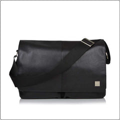 Kobe 15'' Leather Messenger Bag - Sort