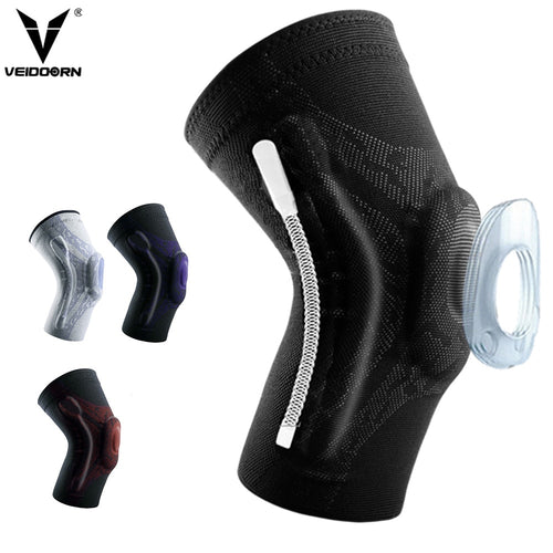 Veidoorn 1PCS Compression Knee Support Sleeve Protector Elastic Knee Pads Brace Springs Gym Sports Basketball Volleyball Running