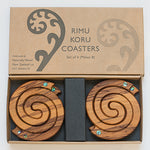 Naturally Wood Box Set Coasters -Fern Paua C-FP