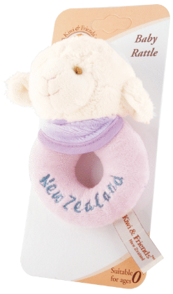 Hallifax Baby Toy Lamb Baby Rattle Ring Pink TBR3