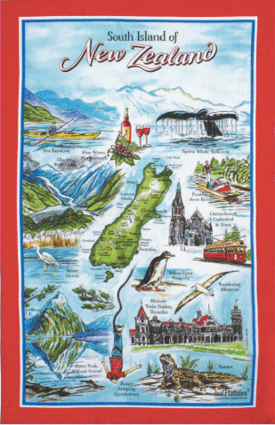 Hallifax Cotton Tea Towel South Island Red MT14