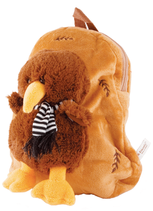 Hallifax Toy Bag Backpack Brown with Kiwi TBP12