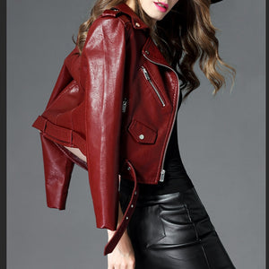 2019 New Leather Jacket Women Short Korean Clothing PU Leather Velvet Pink Black Biker Jacket Plus Size Perfecto Cuir Femme
