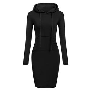 Autumn Winter Warm Sweatshirt Long-Sleeved Dress 2018 Woman Clothing Hooded Collar Pocket Design Simple Woman Dress