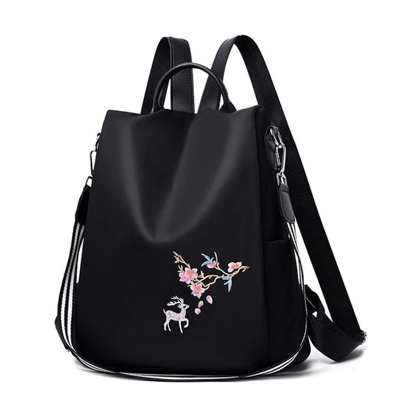 Oxford Women Backpack Teenager Student Embroidery Print School Bags Anti-theft Travel Casual Knapsack