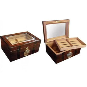 THE AMBASSADOR 100 Count Beveled Glass Top Humidor w/ External Hygro
