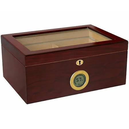 THE BERKELEY DIGITAL 100 Ct. Humidor w/ Glass Top & External Digital Hygrometer