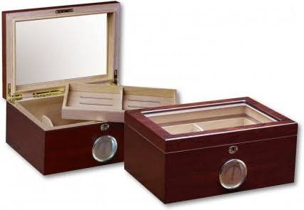 THE BERKELEY 100 Ct. Humidor w/ Glass Top & External Hygrometer