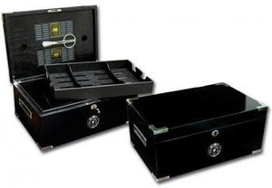 THE DAKOTA 120 Ct. Full Black Humidor Recessed Humidification, Scissors & Polished Hardware