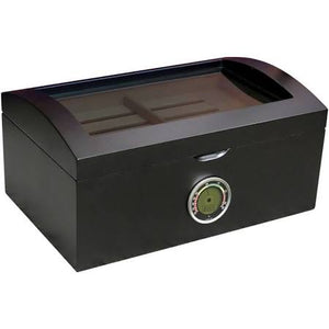 THE PORTOFINO 120 Ct. Tinted Glass Humidor w/ External Digital Needle & Numeric Disp.